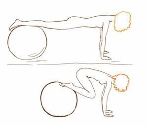 Подтягивание ног с гимнастическим мячом
